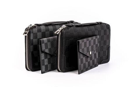 men's patterned leather wallet, money wallet, credit card holder, studio shot, white background