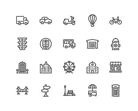 city life: City life icon set Illustration