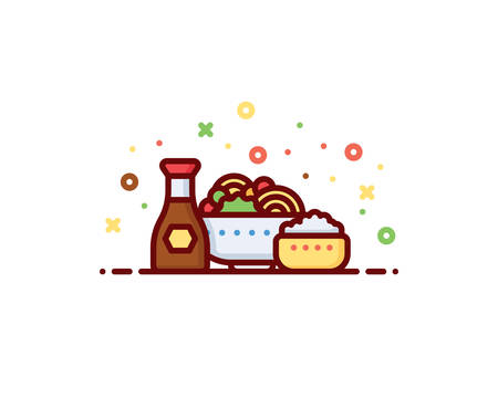 Oriental food vector illustration Illustration
