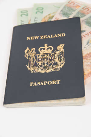 New Zealand Passport with New Zealand Currency photo