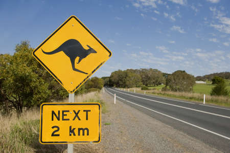 kangaroo: Sign warning of the possibility of kangaroos being on the road, taken just outside on normanville on the fleurieu peninsula in south australia Stock Photo