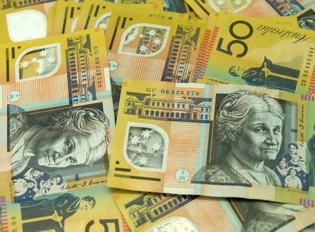 Australian fifty dollar note background Stock Photo