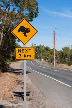 Roadside sign warning of Koalas being in area photo