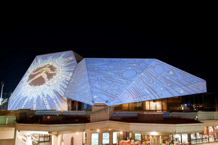 ADELAIDE, Australia - JUNE 18  Digital images projected onto the Adelaide Festival Centre During the Houselights celebrating its 40th anniversary on June 18 2013