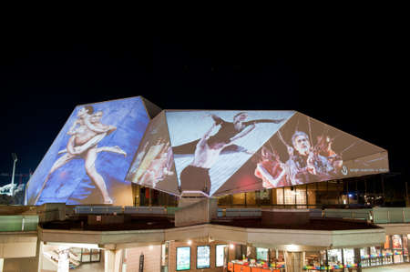 ADELAIDE, Australia - JUNE 18  Digital images projected onto the Adelaide Festival Centre During the Houselights celebrating its 40th anniversary on June 18 2013  Stock Photo - 20877894