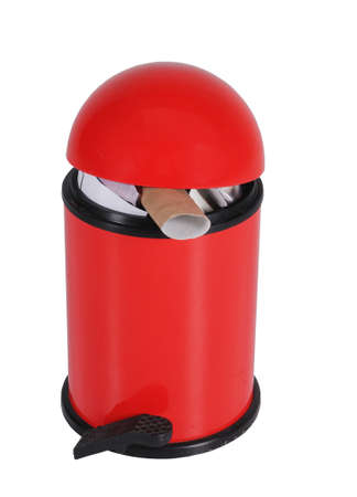 litterbin: A red household domed bin on a white background