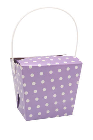 favour: A purple party favour box on a white background