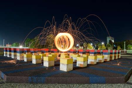 Steel wool orb in the urban garden in festival plaza in Adelaide