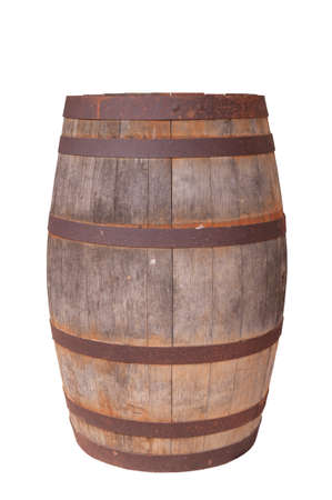 barrels: An old wooden wine barrel isolated on a white background Stock Photo