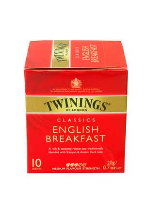 english breakfast tea: ADELAIDE, AUSTRALIA - February 26 2013:A studio shot of a box of Twinings English Breakfast Tea. An English marketer of tea,it holds the worlds oldest continually used company logo.