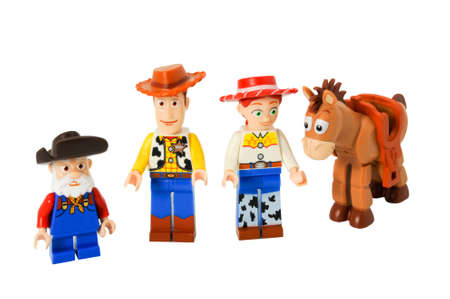 woody: ADELAIDE, AUSTRALIA - April 14 2014:A studio shot of a Toy Story Lego minifigure from the Disney movie series Toy Story. Lego is extremely popular worldwide with children and collectors.