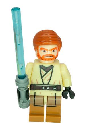 compatible: ADELAIDE, AUSTRALIA - June 15 2014:A studio shot of a Obi Wan Kenobi Lego Compatible minifigure from the movie series Star Wars. Lego is extremely popular worldwide with children and collectors. Editorial