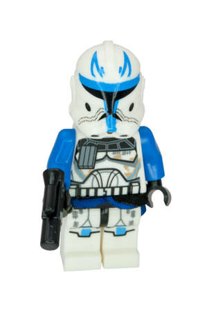 ADELAIDE, AUSTRALIA - June 15 2014:A studio shot of a Captain Rex Lego Compatible minifigure from the movie series Star Wars. Lego is extremely popular worldwide with children and collectors. Editorial