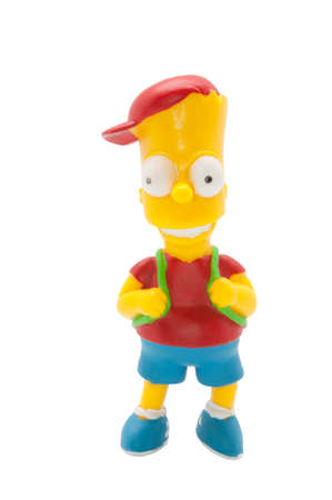 simpson: ADELAIDE, AUSTRALIA - June 22 2014:A studio shot of a Bart Simpson Figurine from the animated series The Simpsons. The Simpson is an extremely popular worldwide TV Series. Editorial