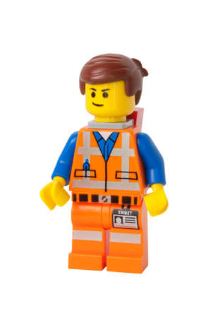collectable: ADELAIDE, AUSTRALIA - September 09 2014:A studio shot of a Emmet Lego minifigure from the Lego movie. Lego is extremely popular worldwide with children and collectors.