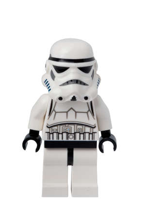 stormtrooper: ADELAIDE, AUSTRALIA - September 11 2014:A studio shot of a Stormtrooper Lego minifigure from the Star Wars movie series. Lego is popular with children and collectors worldwide.
