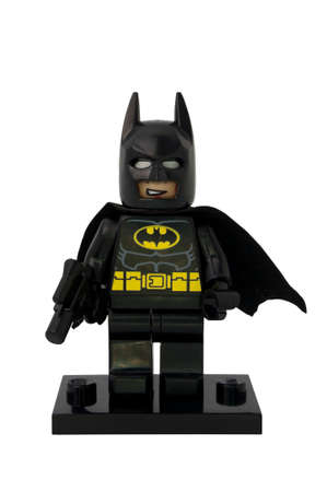 batman: ADELAIDE, AUSTRALIA - August 16 2014:A studio shot of a Batman Lego Compatible minifigure from the DC Comics and Movies. Lego is extremely popular worldwide with children and collectors.