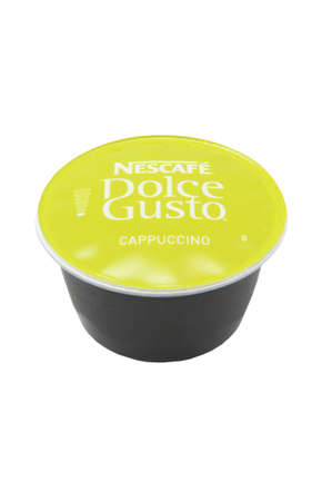 ADELAIDE, AUSTRALIA - July 22 2014:A studio shot of a Cappuccino flavoured Capsule for the Nescafe Dolce Gusto Coffee machines. Popular machine used to create cafe styled coffees at home.
