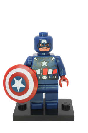 compatible: ADELAIDE, AUSTRALIA - August 04 2014:A studio shot of a Captain America Lego Compatible minifigure from the Marvel Comics and Movies. Lego is extremely popular worldwide with children and collectors. Editorial