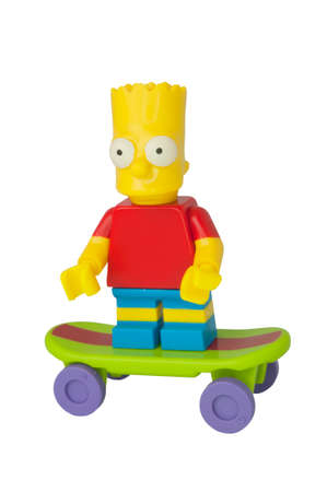 ADELAIDE, AUSTRALIA - August 11 2014:A studio shot of a Bart Simpson Lego minifigure from the animated series The Simpsons. Lego is extremely popular worldwide with children and collectors. Editorial