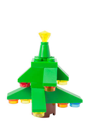 collectable: ADELAIDE, AUSTRALIA - September 11 2014:A studio shot of a Lego Christmas Tree issued in the 2014 Lego Advent Calendar. Lego is extremely popular worldwide with children and collectors.