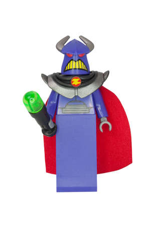 toy story: ADELAIDE, AUSTRALIA - October 06 2014:A studio shot of a Zurg Lego Compatible minifigure from the Toy Story Movie series. Lego is extremely popular worldwide with children and collectors.