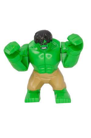 lego: ADELAIDE, AUSTRALIA - October 06 2014:A studio shot of a Hulk Lego Compatible minifigure from the Marvel comics and movies. Lego is extremely popular worldwide with children and collectors.
