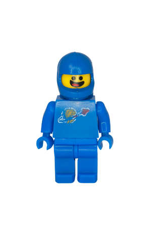 collectable: ADELAIDE, AUSTRALIA - October 06 2014:A studio shot of a Benny the Astronaut Lego minifigure from the Lego movie. Lego is extremely popular worldwide with children and collectors. Editorial