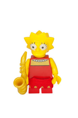 simpson: ADELAIDE, AUSTRALIA - October 06 2014:A studio shot of a Lisa Simpson Lego minifigure from the animated series The Simpsons. Lego is extremely popular worldwide with children and collectors.