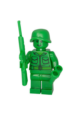 toy story: ADELAIDE, AUSTRALIA - October 06 2014:A studio shot of a Toy Soldier Lego Compatible minifigure from the Toy Story Movie series. Lego is extremely popular worldwide with children and collectors. Editorial