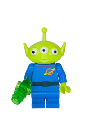 compatible: ADELAIDE, AUSTRALIA - October 06 2014:A studio shot of a Little Green Alien Lego Compatible minifigure from the Toy Story Movie series. Lego is extremely popular worldwide with children and collectors.