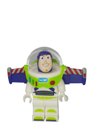 buzz: ADELAIDE, AUSTRALIA - October 06 2014:A studio shot of a Buzz Lightyear Lego Compatible minifigure from the Toy Story Movie series. Lego is extremely popular worldwide with children and collectors. Editorial