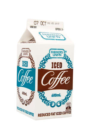 reportedly: ADELAIDE, AUSTRALIA - September 28 2009:A studio shot of a carton of Farmers Union Iced Coffee. A popular milk flavoured drink that reportedly outsells cola drinks in South Australia.