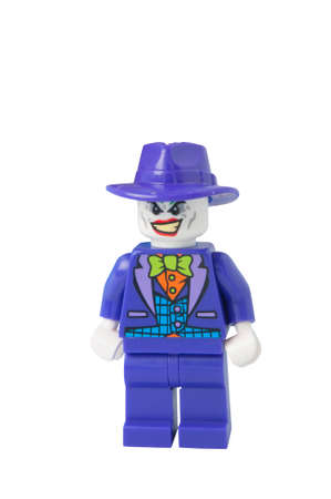 batman: ADELAIDE, AUSTRALIA - October 17 2014:A studio shot of a Joker Lego minifigure from the DC Comics and Movies. Lego is extremely popular worldwide with children and collectors.