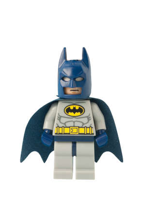 ADELAIDE, AUSTRALIA - October 17 2014:A studio shot of a Batman Lego minifigure from the DC Comics and Movies. Lego is extremely popular worldwide with children and collectors.