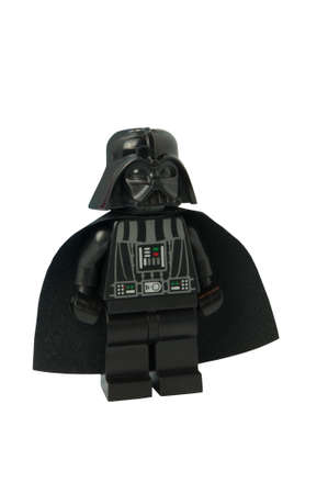 collectable: ADELAIDE, AUSTRALIA - October 17 2014:A studio shot of a Darth Vader Lego minifigure from the movie series Star Wars. Lego is extremely popular worldwide with children and collectors.