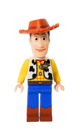 ADELAIDE, AUSTRALIA - April 14 2014:A studio shot of a Woody Lego minifigure from the Disney movie series Toy Story. Lego is extremely popular worldwide with children and collectors.