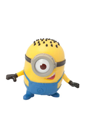 ADELAIDE, AUSTRALIA - May 05 2014:A studio shot of a Minion figurine from the movie series Despicable Me issued by McDonalds with Happy Meals. Extremely popular movie series worldwide with children.