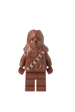 collectable: ADELAIDE, AUSTRALIA - October 17 2014:A studio shot of a Chewbacca Lego minifigure from the movie series Star Wars. Lego is extremely popular worldwide with children and collectors. Editorial