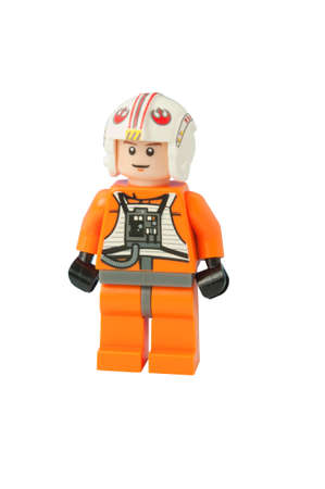 ADELAIDE, AUSTRALIA - October 17 2014:A studio shot of a Luke Skywalker Lego minifigure from the movie series Star Wars. Lego is extremely popular worldwide with children and collectors.