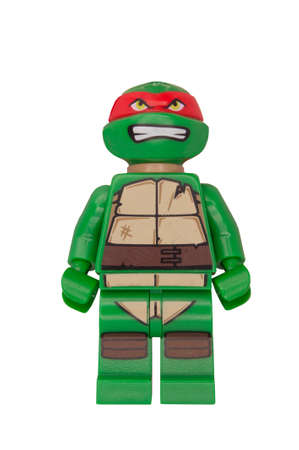 ADELAIDE, AUSTRALIA - October 18 2014:A studio shot of a Raphael Lego minifigure from the TMNT movies and cartoons. Lego is extremely popular worldwide with children and collectors.