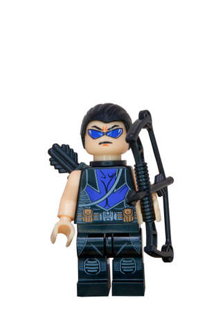 compatible: ADELAIDE, AUSTRALIA - October 27 2014:A studio shot of a Hawkeye Lego Compatible minifigure from the Marvel comics and movies. Lego is extremely popular worldwide with children and collectors.