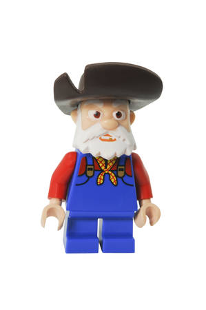disney: ADELAIDE, AUSTRALIA - April 14 2014:A studio shot of a Stinky Pete Lego minifigure from the Disney movie series Toy Story. Lego is extremely popular worldwide with children and collectors.