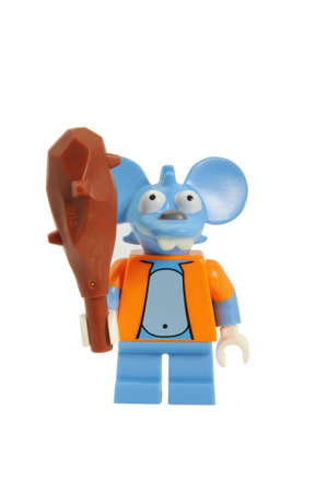 scratchy: ADELAIDE, AUSTRALIA - May 01 2014:A studio shot of a Scratchy Lego minifigure from the television series The Simpsons. Lego is extremely popular worldwide with children and collectors. Editorial