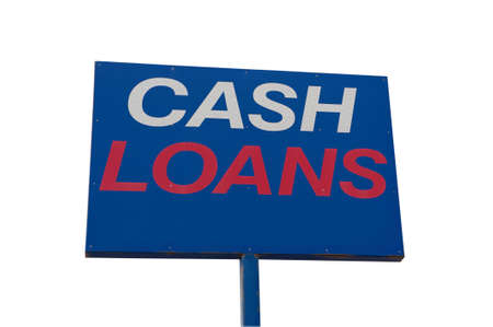 loans: A Blue Cash Loans sign isolated on a white background