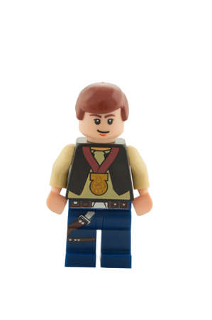 ADELAIDE, AUSTRALIA - December 05 2014:A studio shot of a Han Solo Lego minifigure from the movie series Star Wars. Lego is extremely popular worldwide with children and collectors.