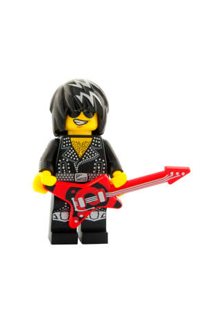 ADELAIDE, AUSTRALIA - November 18, 2014: A studio shot of a Rock Star Lego Minifigure from series 12. Lego is very popular with children and collectors worldwide.
