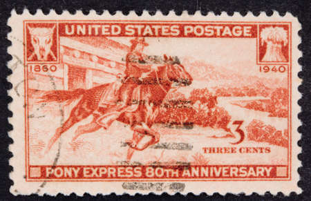 pony: USA - Circa 1940:A Cancelled postage stamp from the USA illustrating Pony Express Anniversary, issued in 1940.