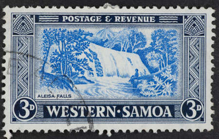 philatelic: WESTERN SAMOA - CIRCA 1900s: A Cancelled postage stamp from Western Samoa illustrating Aleisa Falls.