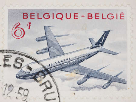 philatelic: BELGIUM - CIRCA 1959: A Cancelled postage stamp from Belgium illustrating a Boeing 707, issued in 1959.